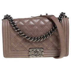 Chanel Beige Quilted Leather Medium Embossed Stitch Boy Flap Bag