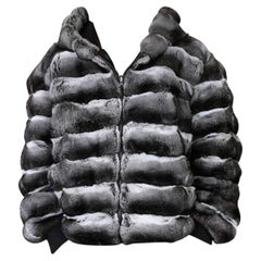 Reversible leather jacket with chinchilla fur linning