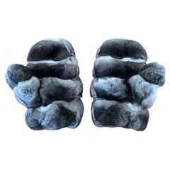 Brand New Chinchilla Fur Mittens with Sheared Beaver Lining