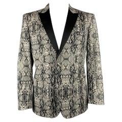 JUST CAVALLI Size 44 Grey & Black Snake Print Cotton Blend Sport Coat