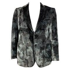 ETRO Size 44 Black & Grey Print Viscose / Silk Notch Lapel Sport Coat