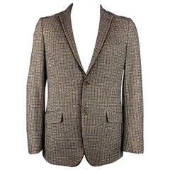 ETRO Size 44 Brown & Tan Plaid Alpaca Blend Notch Lapel Sport Coat