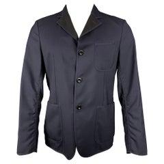 JUNYA WATANABE Size S Navy Wool Notch Lapel Sport Coat