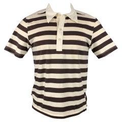 PRADA Size L Beige & Brown Stripe Short Sleeve Polo