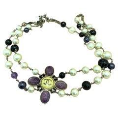 WOMENS DESIGNER Chanel Vintage 06C Gripoix Pearl Chain Belt Necklace Purple Gold