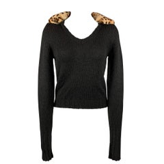 BLUMARINE Size 4 Black Knitted Wool Blend V-neck Pullover