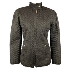 BOGNER Size 6 Black Quilted Textured Nylon Jacket