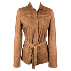 ELIE TAHARI Size S Tan Contrast Stitching Suede Belted Jacket