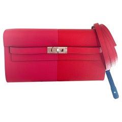Hermes Kelly To Go Bag Wallet Tri Color Rouge Casaque Extreme Epsom