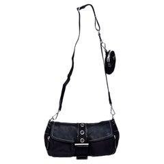 Prada Vintage Tessuto Buckle Black Crossbody Bag