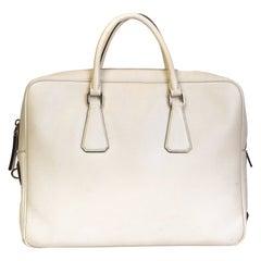 Prada White Saffiano Leather Bauletto Briefcase