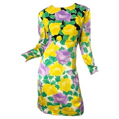 1980s Galanos Couture Rose Print Long Sleeve Yellow Purple Vintage 80s Dress