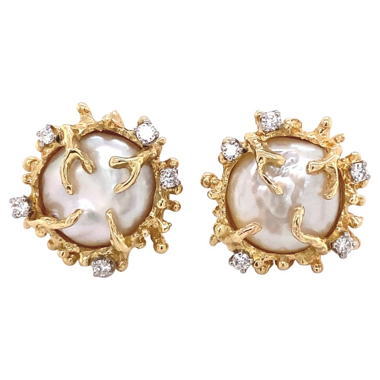 Pearl and Diamond Gold Clip-on Button Earrings Estate Fine Jewelry For Sale