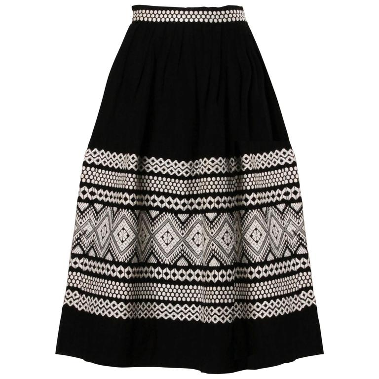 1950s Vintage Black + White Embroidered Wool Skirt with Box Pleats
