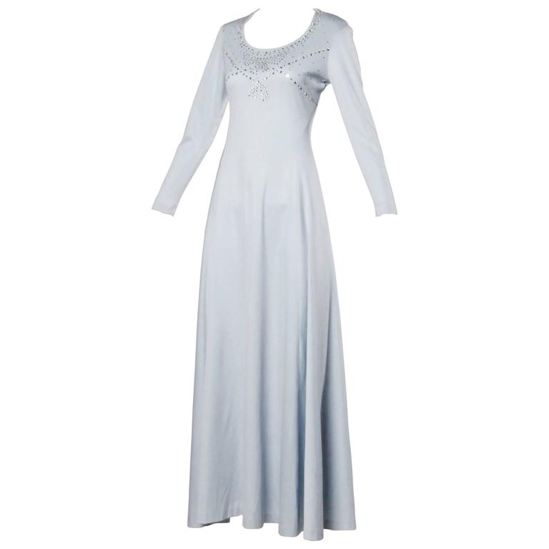 1970s Pale Blue Jersey Knit Maxi Dress with Prong-Set Rhinestones + ...
