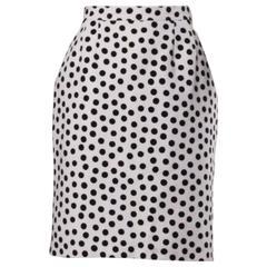 YSL Yves Saint Laurent Rive Gauche Vintage Black + White Polka Dot Skirt