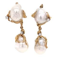 Baroque Pearl and Diamond Gold Drop Earrings Estate Fine Jewelry