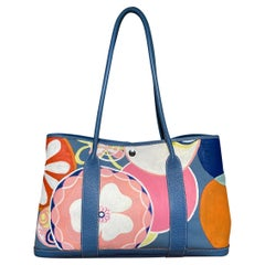 Hermes Blue Garden Party 40 Hand Painted