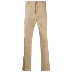 Versace Mens Safety Pin Embroidered Khaki Beige Pants / Trousers Size 54