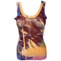 Jean Paul Gaultier Soleil Tropical Print Semi-Sheer Mesh Top