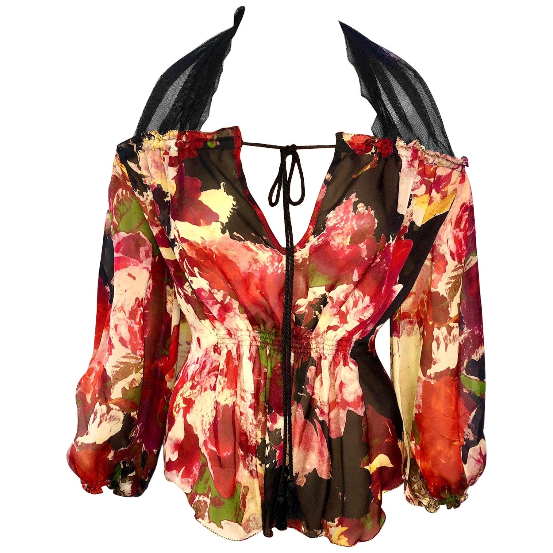 Jean Paul Gaultier Floral Print Semi-Sheer Silk Blouse Top