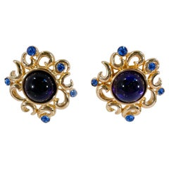 1980s Givenchy Blue and Gold Clip-on Earrings