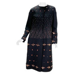 Valentino F/W 2009 Runway Black Wool Silk Fully Embellished Coat size 8