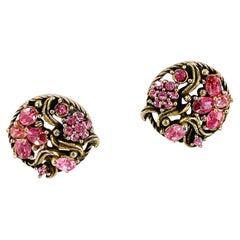 1950s/1960s Hollycraft Pink Rhinestone Clip-on Earrings