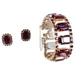 1950s Purple Rhinestone Bracelet and Earring Set