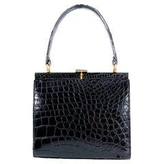 1960s Lucille De Paris Black Alligator Handbag