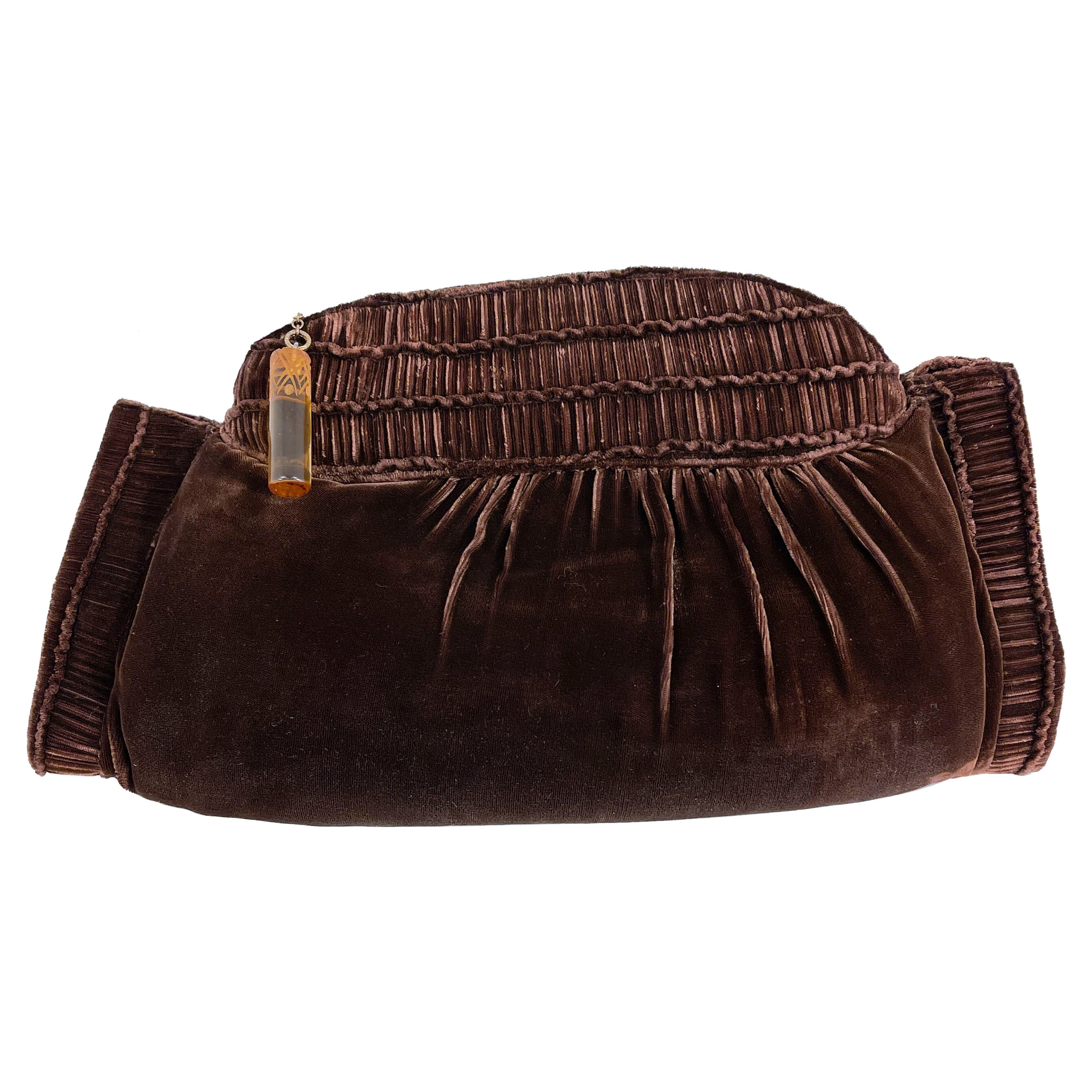 1930s Cocoa Brown Silk Velvet Purse/Muff