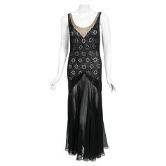 Vintage 1930's French Couture Beaded Rhinestone Sheer Eyelet Silk Bias-Cut Gown