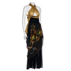 Dolce & Gabbana Renaissance printed silk dress with draped skirt, ss 1990