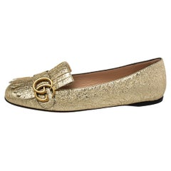 Gucci Metallic Gold Foil Leather GG Marmont Fringe Detail Flats Size 37