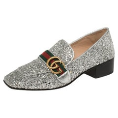 Gucci Metallic Silver Coarse Glitter Marmont Peyton Loafer Pumps Size 37.5
