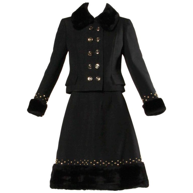 Jean Patou 1960s Vintage Studded Wool Jacket + Skirt Ensemble with Faux Fur Trim
