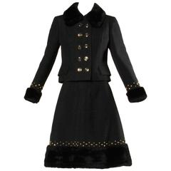 Jean Patou 1960s Vintage Studded Wool Jacket + Skirt Ensemble with Faux Fur Trim