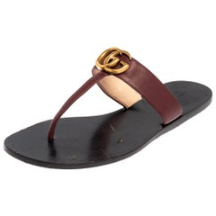 Gucci Burgundy Leather GG Marmont Thong Sandals Size 39