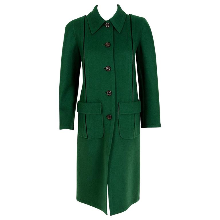 1975 Valentino Couture Forest-Green Wool Mod Military Pockets Pleated Coat