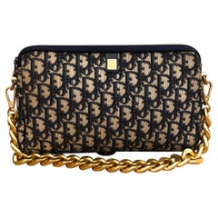 1970s CHRISTIAN DIOR Navy Trotter Jacquard Clutch Bag (Modified)