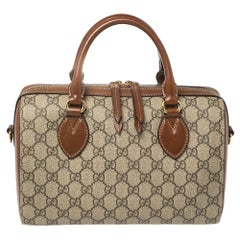 Gucci Beige/Brown GG Supreme Canvas and Leather Boston Bag