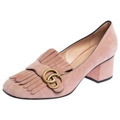 Gucci Light Pink Suede GG Marmont Fringe Pumps Size 39.5