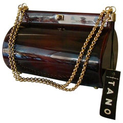 Retro Tano of Madrid Tortoise Lucite Handbag Purse 1950s New Deadstock Tags