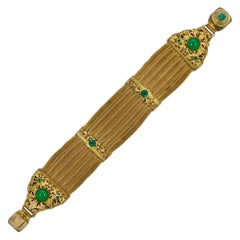 Art Deco Gold Plated Mesh Bracelet with Green Jewels circa 1920s