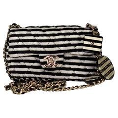 Chanel Vinatage Rare Striped Micro Mini Charm Velvet Crossbody Classic Flap Bag