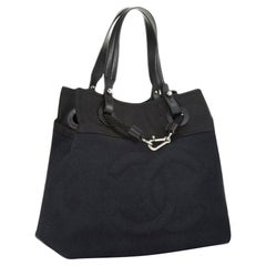 Chanel Shopping XL Timeless Beach Yacht Boating Detail Navy Canvas Nylon Tote