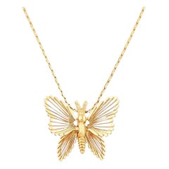 """Gold """"Spinneret Collection"""" Butterfly Pendant Necklace By Monet, 1960s"""