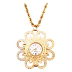 Mid Century Floral Watch Pendant Necklace By Caravelle, 1960s