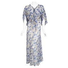 Vintage 1930's Blue Floral Chiffon Bias Cut Gown & Winged-Sleeve Smocked Bolero