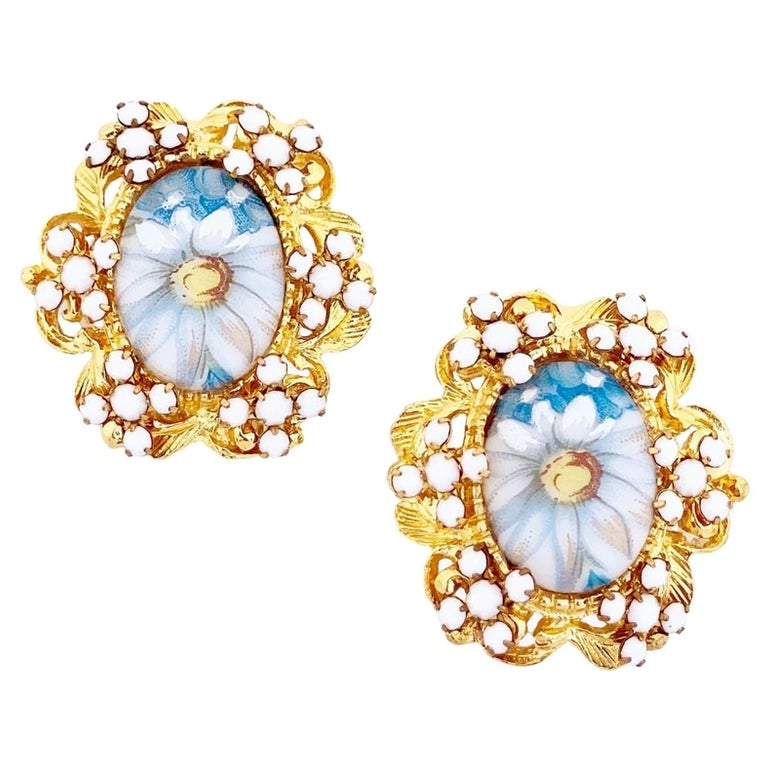 1960s Blue Floral Limoges Earrings With Milk Glass Rhinestones By Alice Caviness For Sale